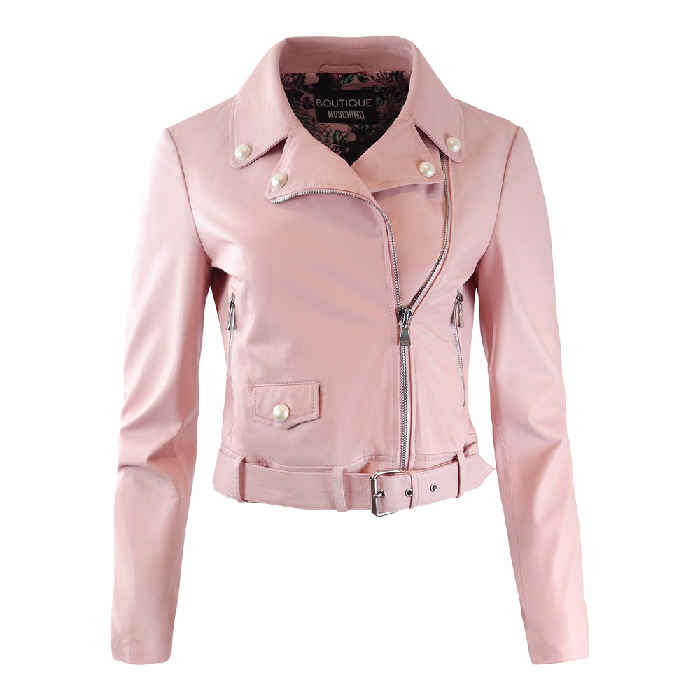 Moschino Boutique Leather Jacket with Pearl Details Pink