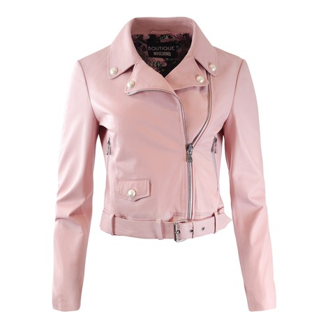 Moschino Boutique Black Leather Jacket with Pearl Details