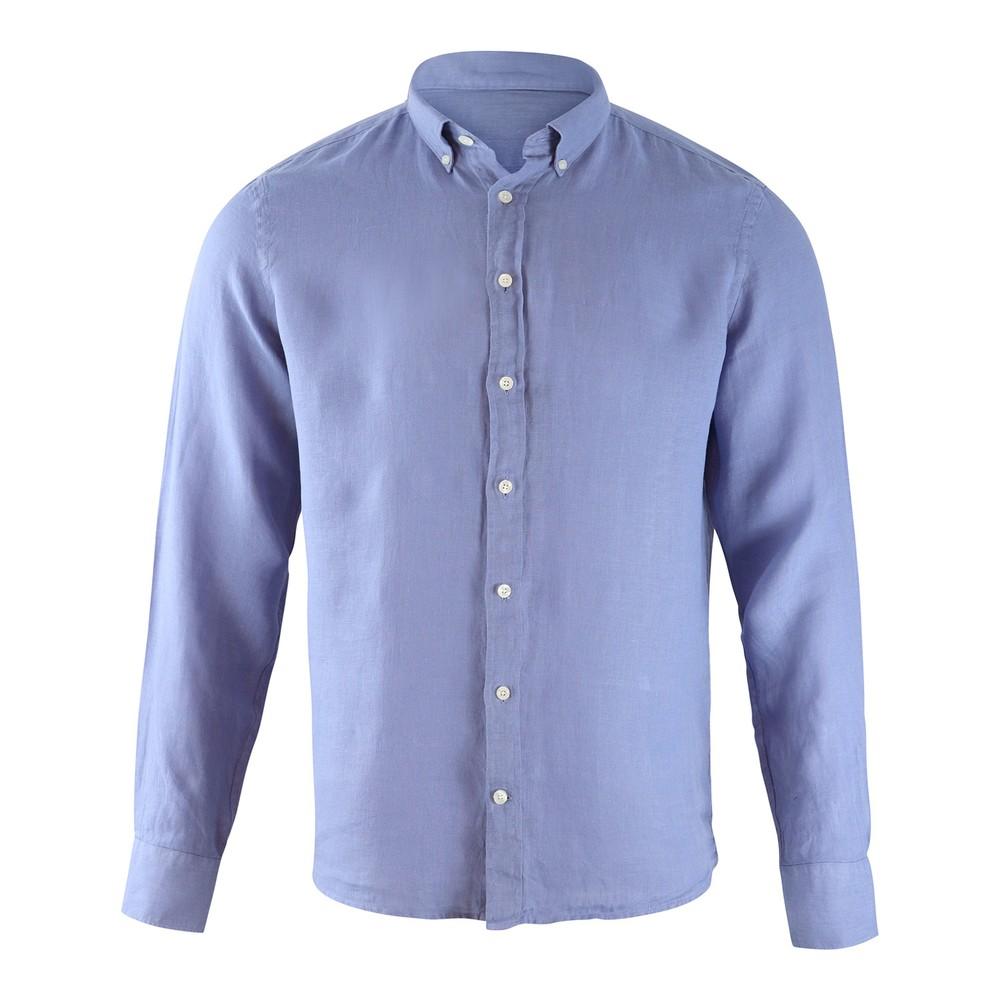 Hackett Brompton Slim Fit Dyed Linen Shirt Blue