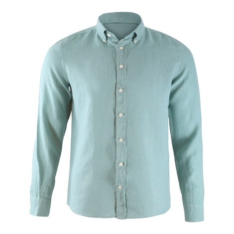 Hackett Brompton Slim Fit Dyed Linen Shirt in Green