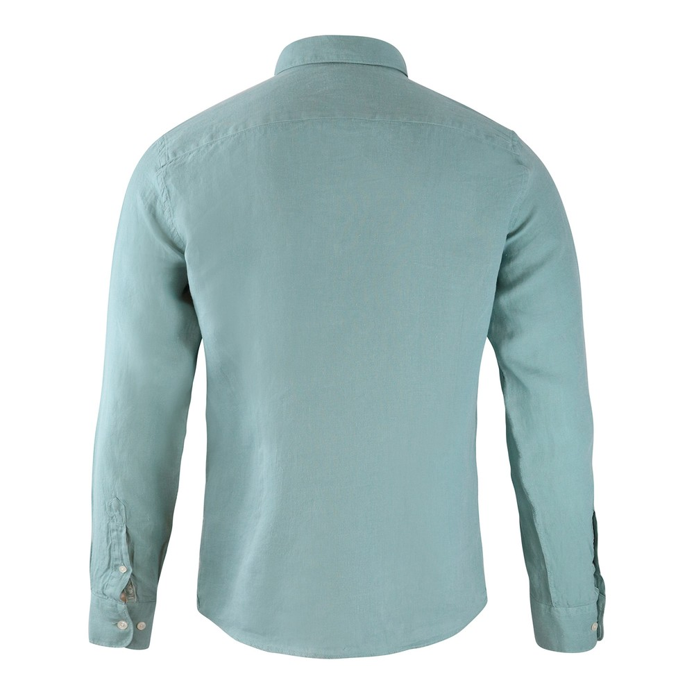 Hackett Brompton Slim Fit Dyed Linen Shirt Green