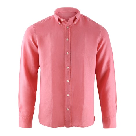 Hackett Brompton Slim Fit Dyed Linen Shirt in Peach