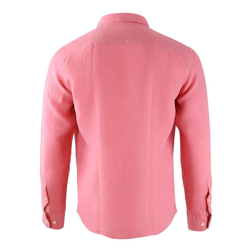 Hackett Brompton Slim Fit Dyed Linen Shirt Peach