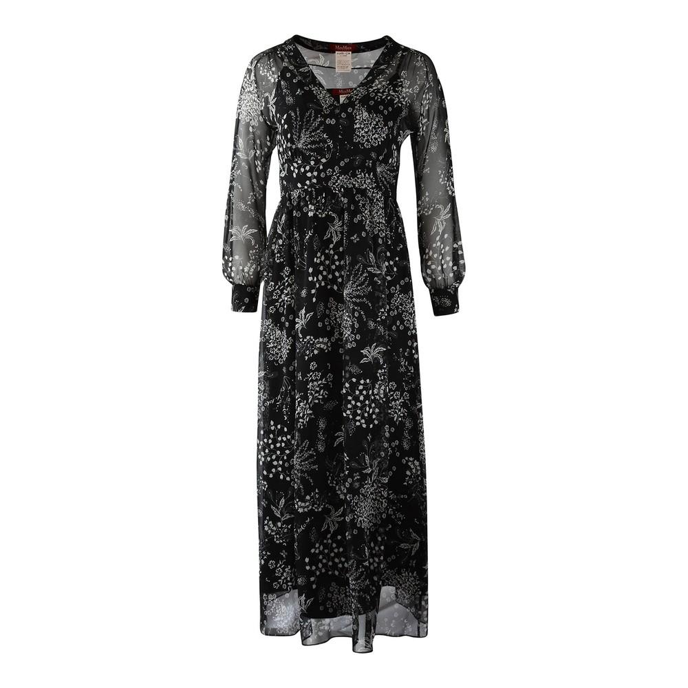 Maxmara Studio Shock Longsleeve Floral Silk Dress Black
