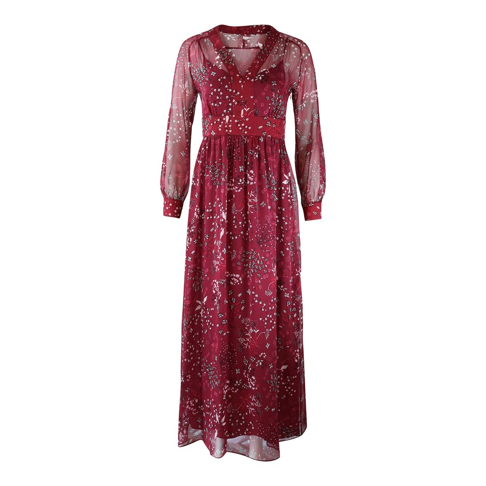 Maxmara Studio Shock Longsleeve Floral Silk Dress Burgundy