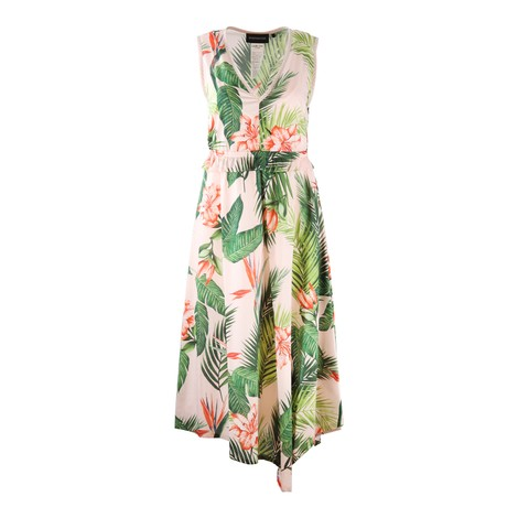 Sportmax Code V-Neck Pink Floral Midi Dress