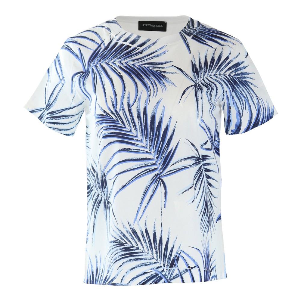 Sportmax Code Short Sleeve Palm Print Tee White and Navy