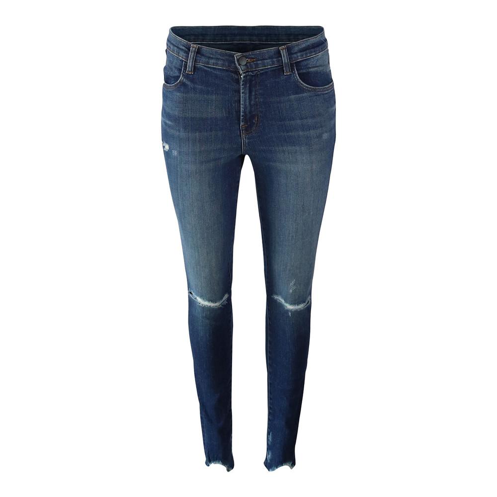 J Brand Maria Highrise Skinny Leg Revoke Destruct Jean Dark Denim