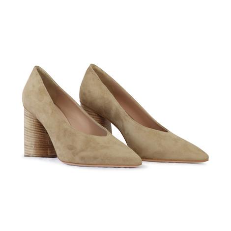 Aristocrat Cream Suede Court Shoe with Wooden Heel