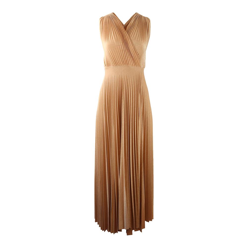 Marella Gold Pleated Maxi Dress Gold