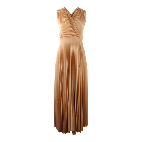 Marella Gold Pleated Maxi Dress