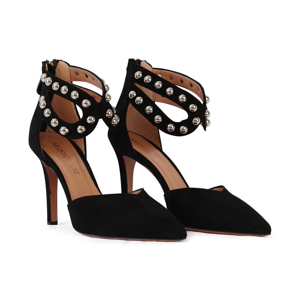 Aristocrat Black Suede Ankle Strap Stud Shoe Black