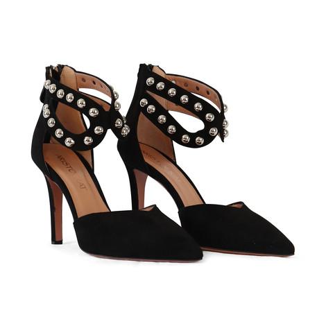 Aristocrat Black Suede Ankle Strap Stud Shoe