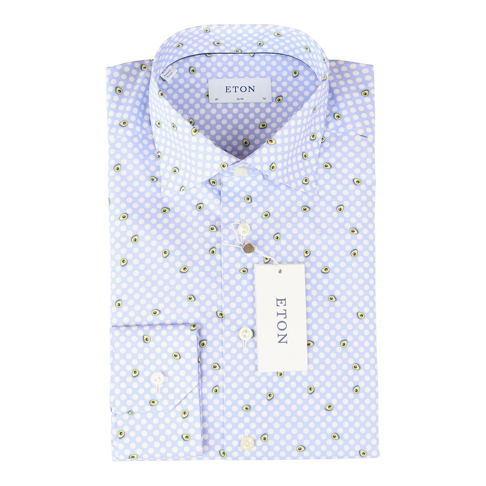 Eton Slim Fit Poplin Shirt Blue