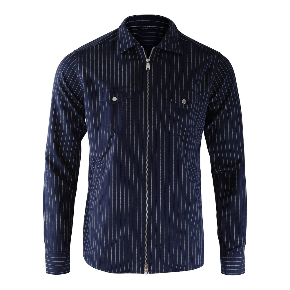 Eton Zip Up Blue Stripe Shirt Blue