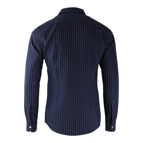Eton Zip Up Blue Stripe Shirt