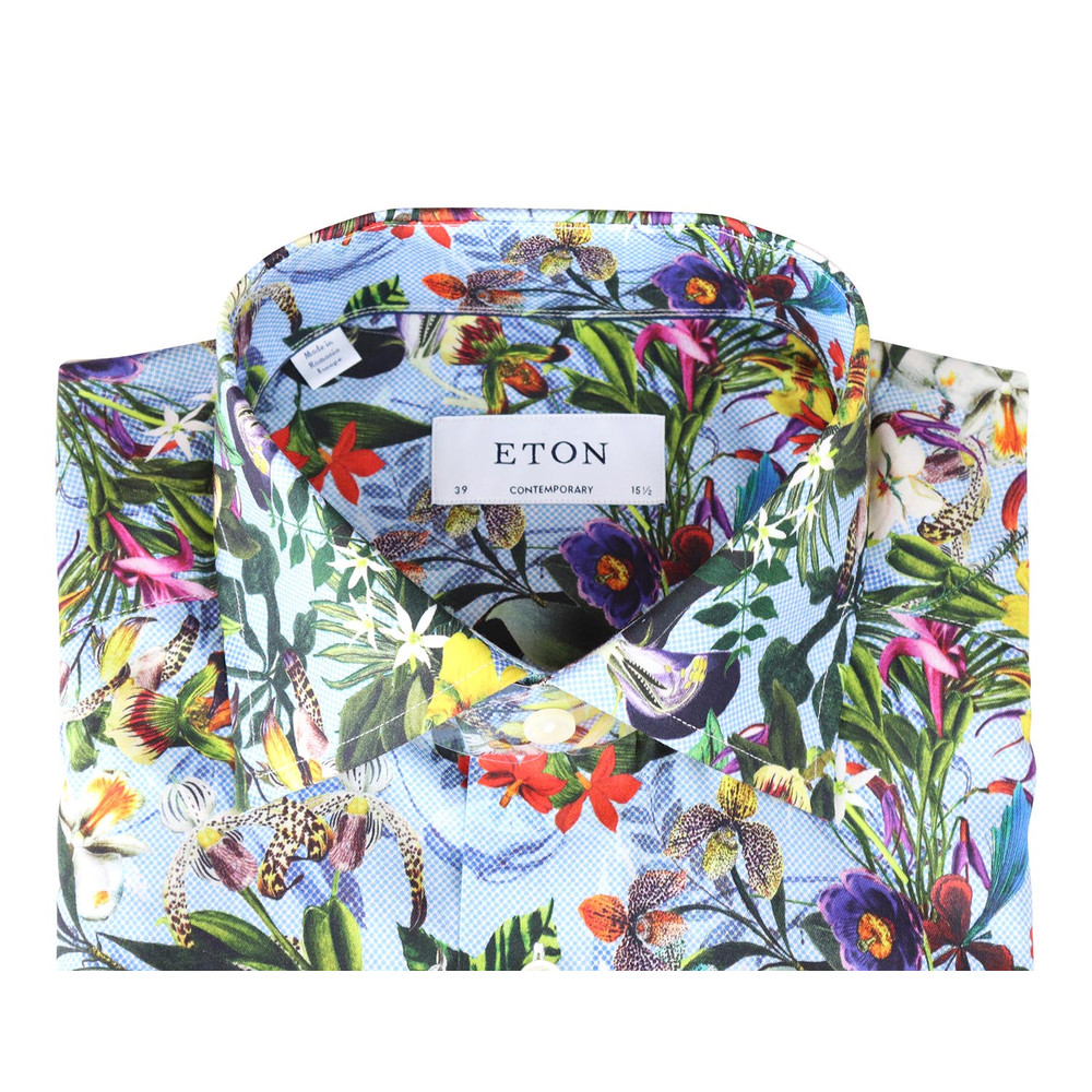 Eton Floral Print Design Shirt - Contemporary Blue