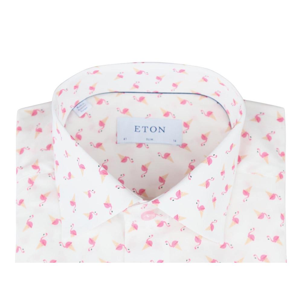 Eton Slim Fit Poplin Flamingo Shirt White