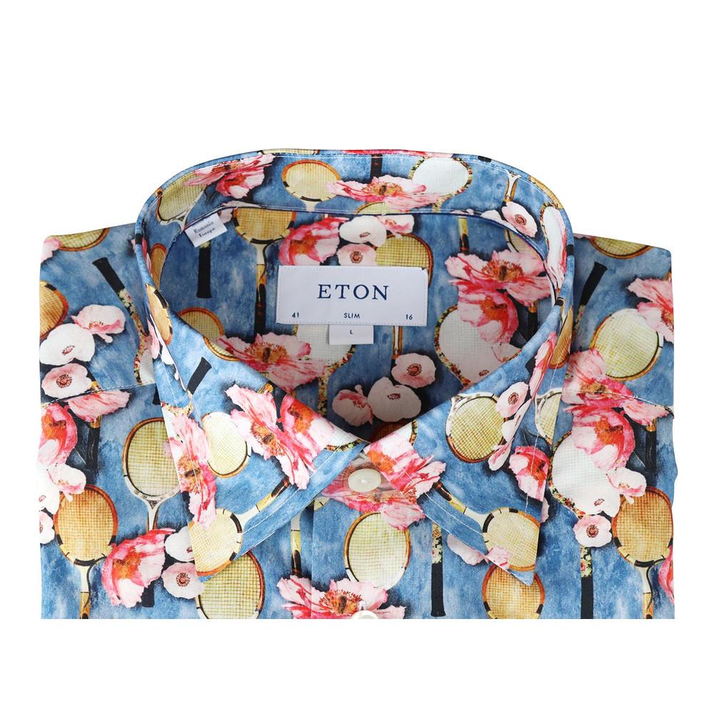 Eton Tennis Floral Slim Fit Shirt Sky Blue