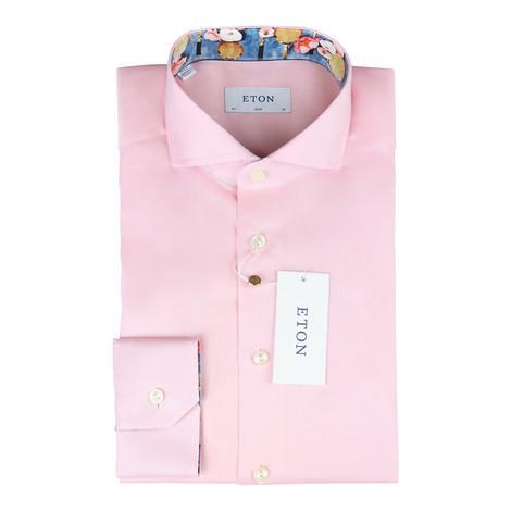 Eton Pink Slim Fit Floral Tennis Rachet Trim Shirt