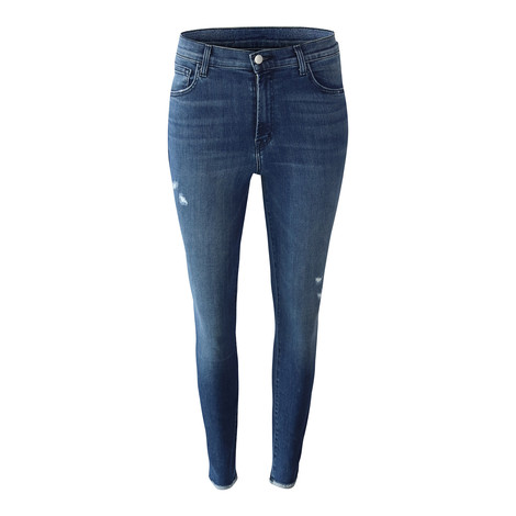 J Brand Leenah High Rise Ankle Skinny Moonless Distressed Jean