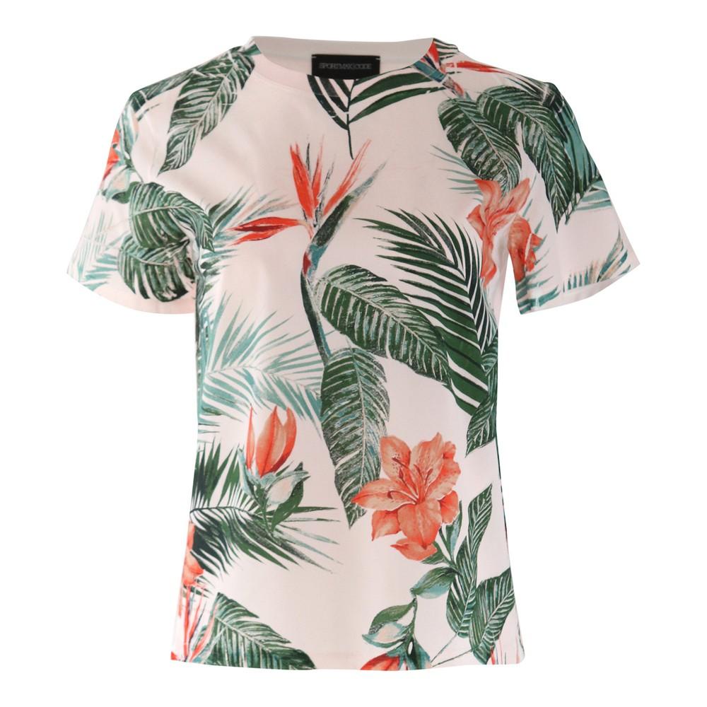 Sportmax Code Short Sleeve Palm Print Tee Pink