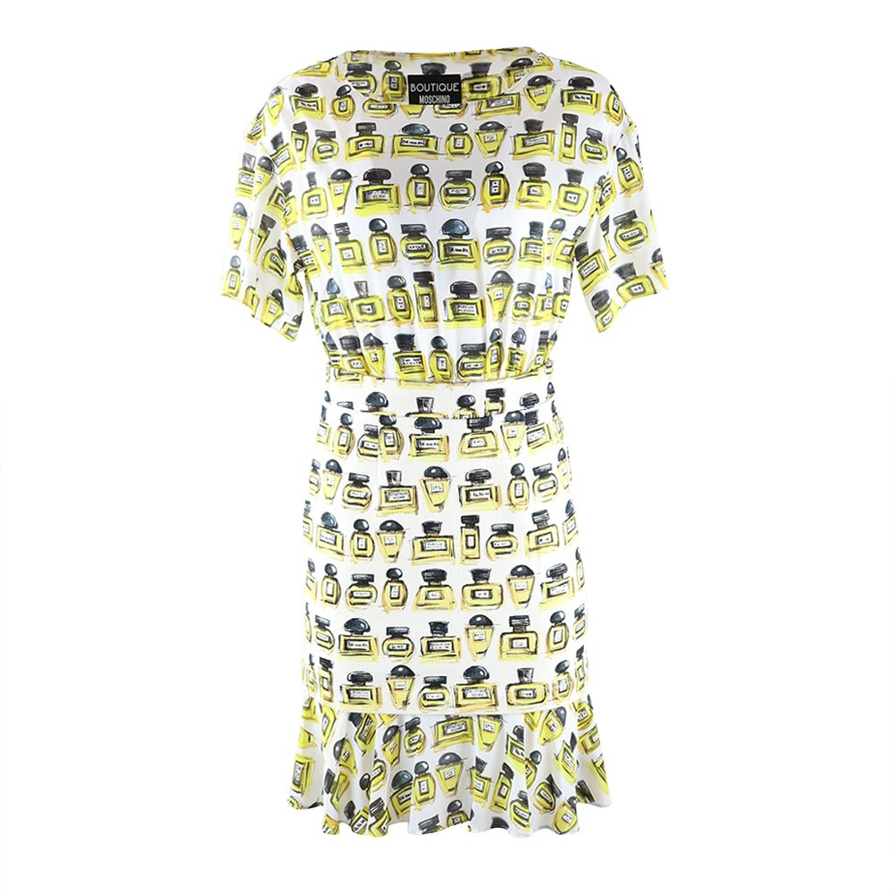 Moschino Boutique Perfume Bottle Combi Dress Off White