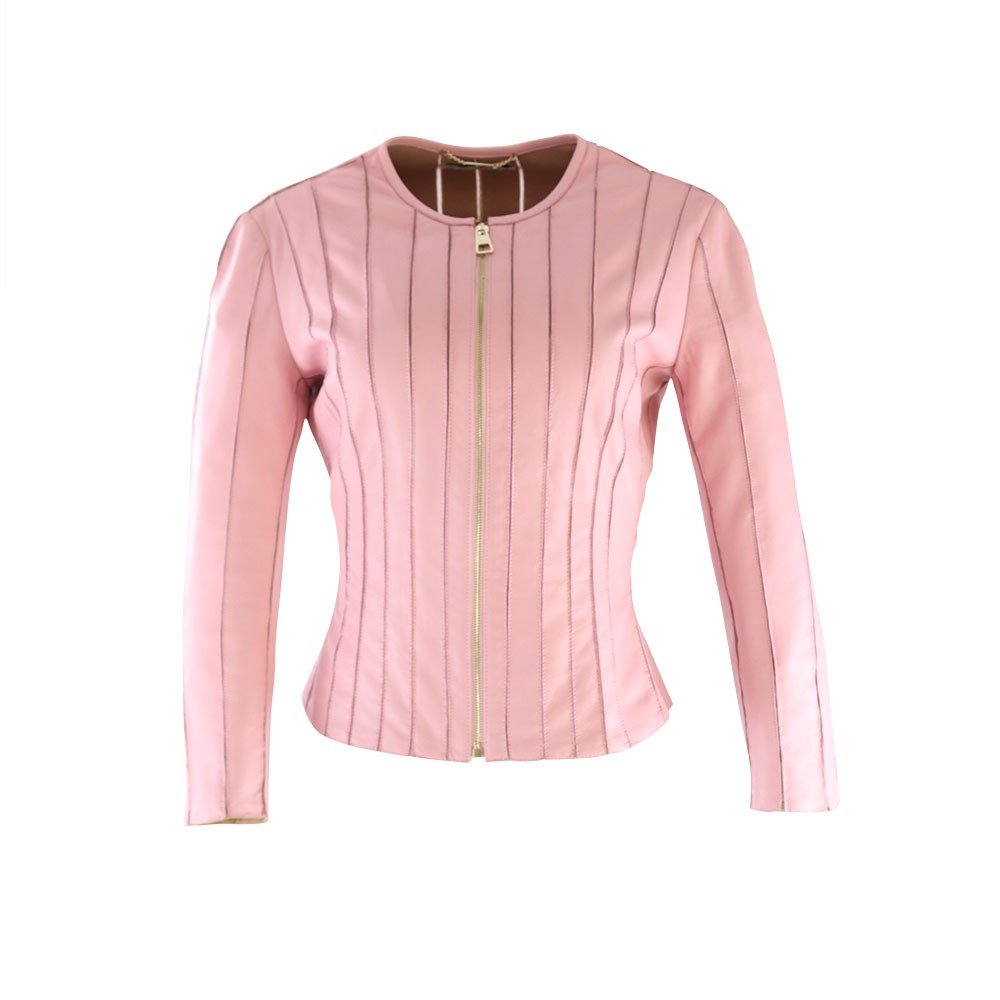 Versace Collection Leather Jacket Pink