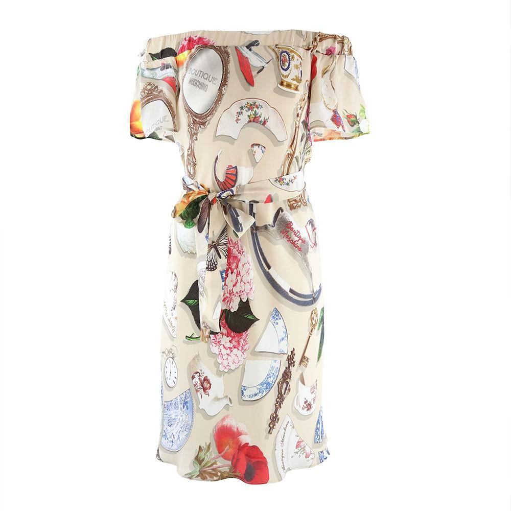 Moschino Boutique Bardot Broken China Print Dress Beige