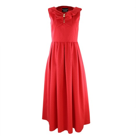 Moschino Boutique Sleeveless Jacquard Red Long Dress Zip Neck