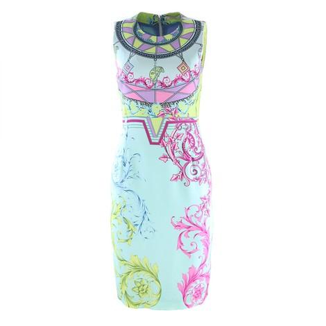 Versace Collection Blue Multicolour Print Dress