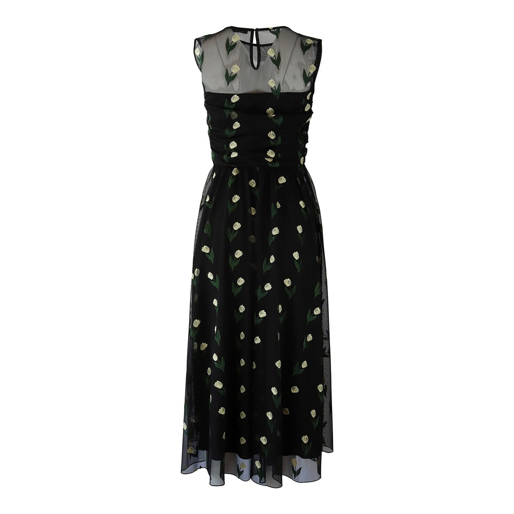 Marella Embroidered Tulip Tuille Midi Dress Black