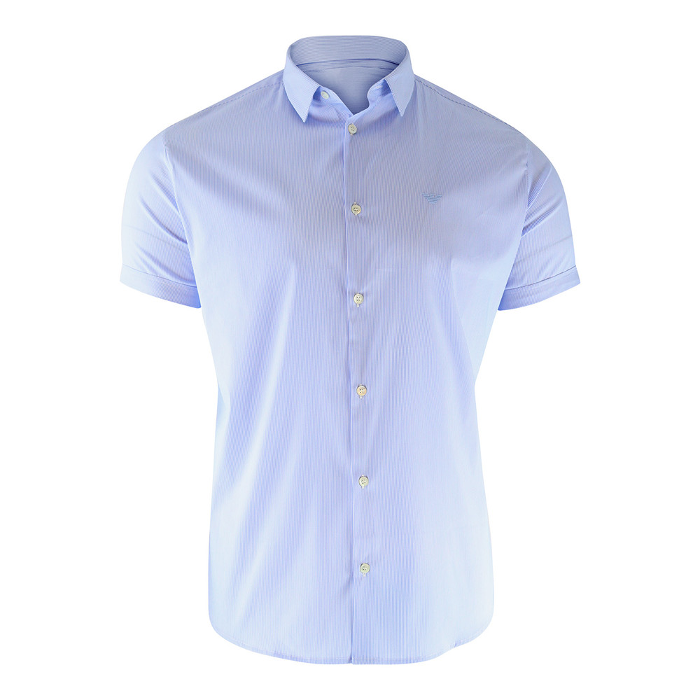 Emporio Armani Short Sleeved Slim Fit Poplin Striped Shirt Sky Blue Stripe