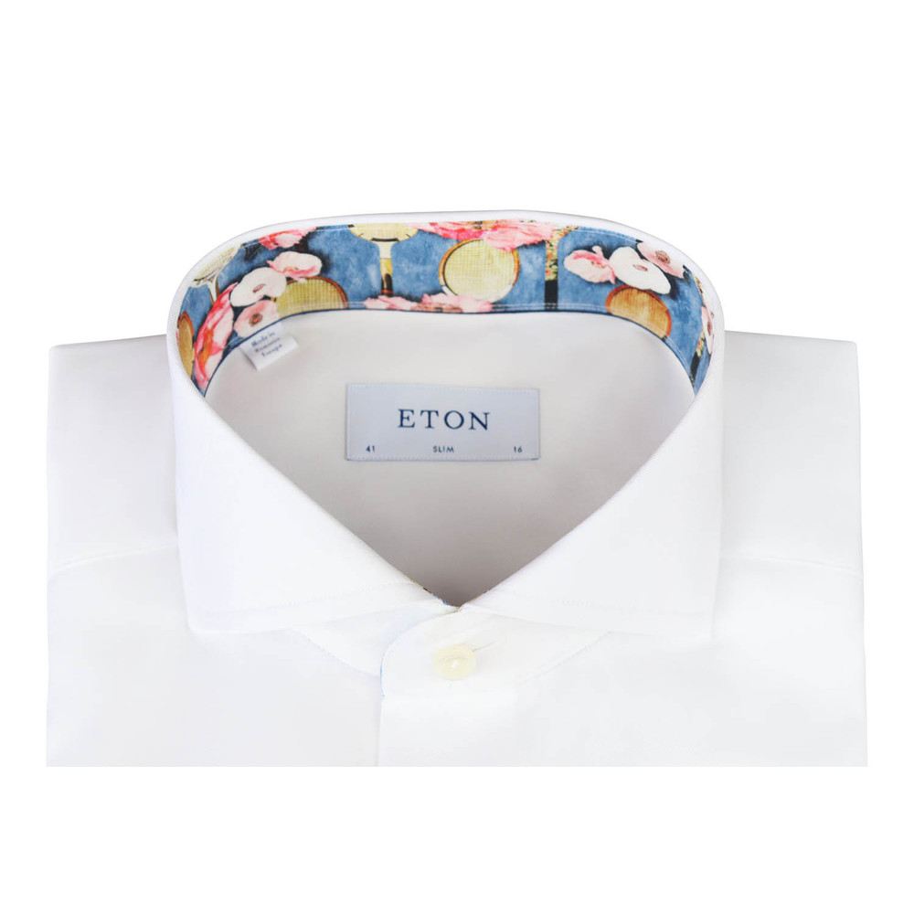 Eton White Slim Fit Floral Tennis Racket Trim White