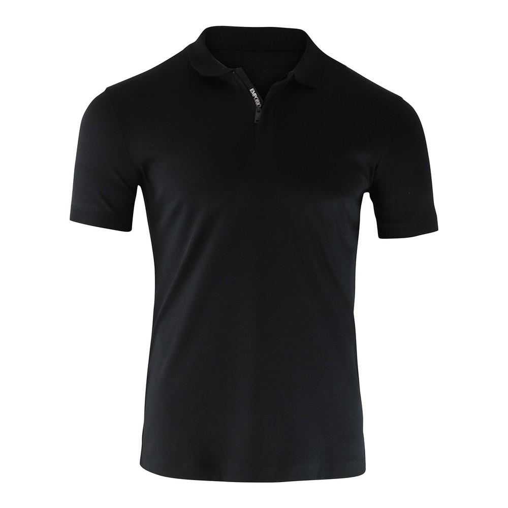 Emporio Armani Cotton Polo Shirt Zip Neck Detail Black