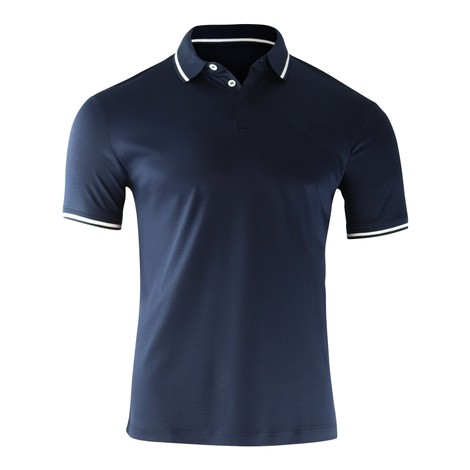 Emporio Armani Cotton Interlock Jersey Polo Shirt with Contrasting Details in Navy