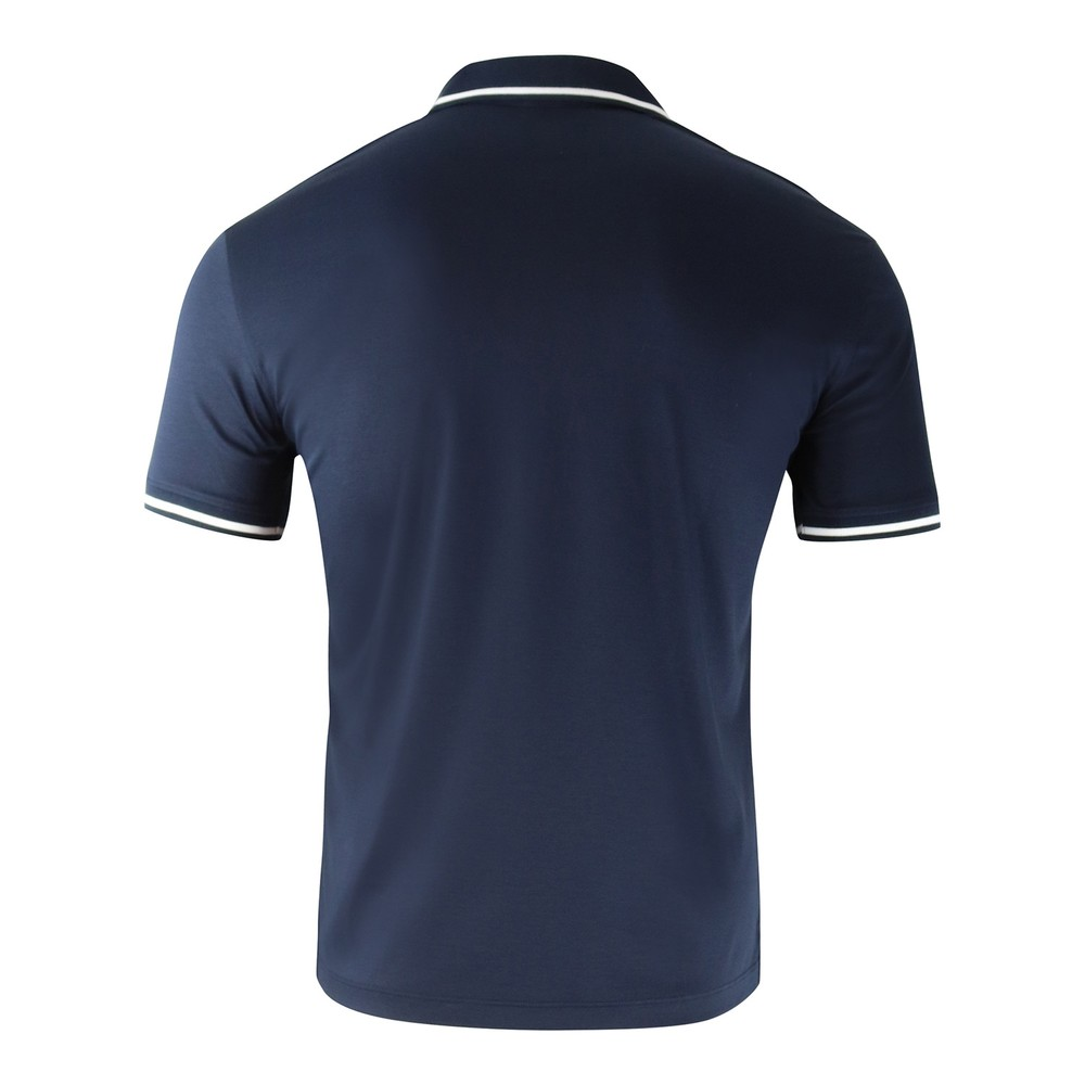 Emporio Armani Cotton Interlock Jersey Polo Shirt with Contrasting Details Navy