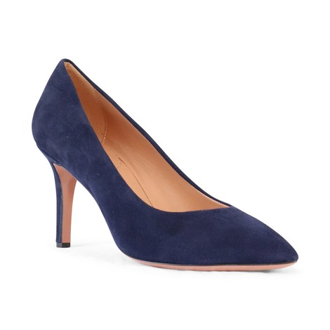 Aristocrat Mid Heel Suede Court Shoe in Navy