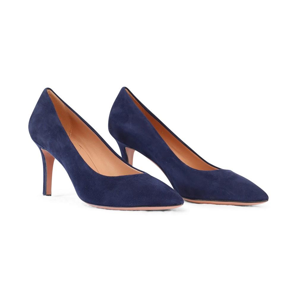 Aristocrat Mid Heel Suede Court Shoe Navy