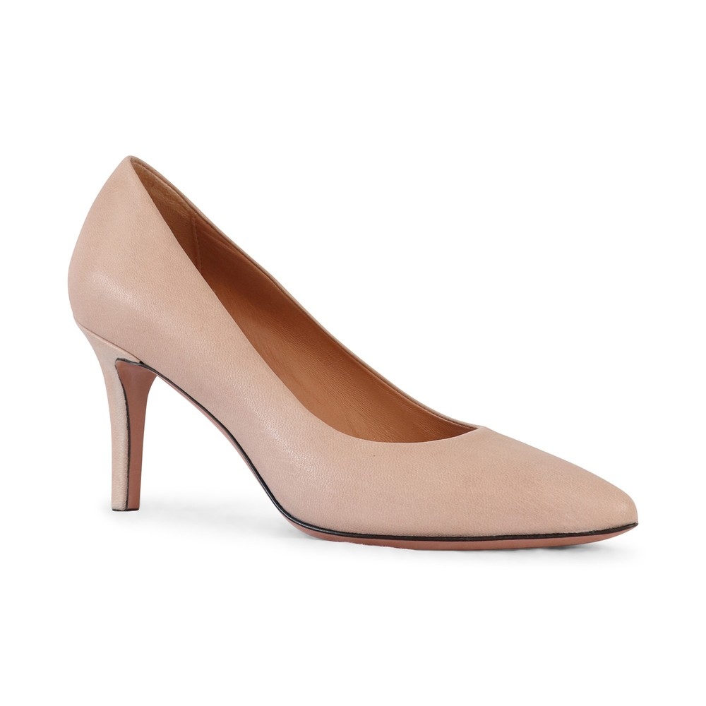 Aristocrat Mid Heel Leather Court Shoe Nude