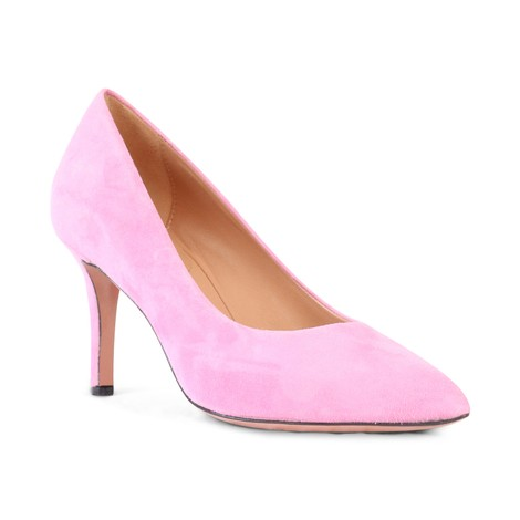 Aristocrat Mid Heel Suede Court Shoe in Pink