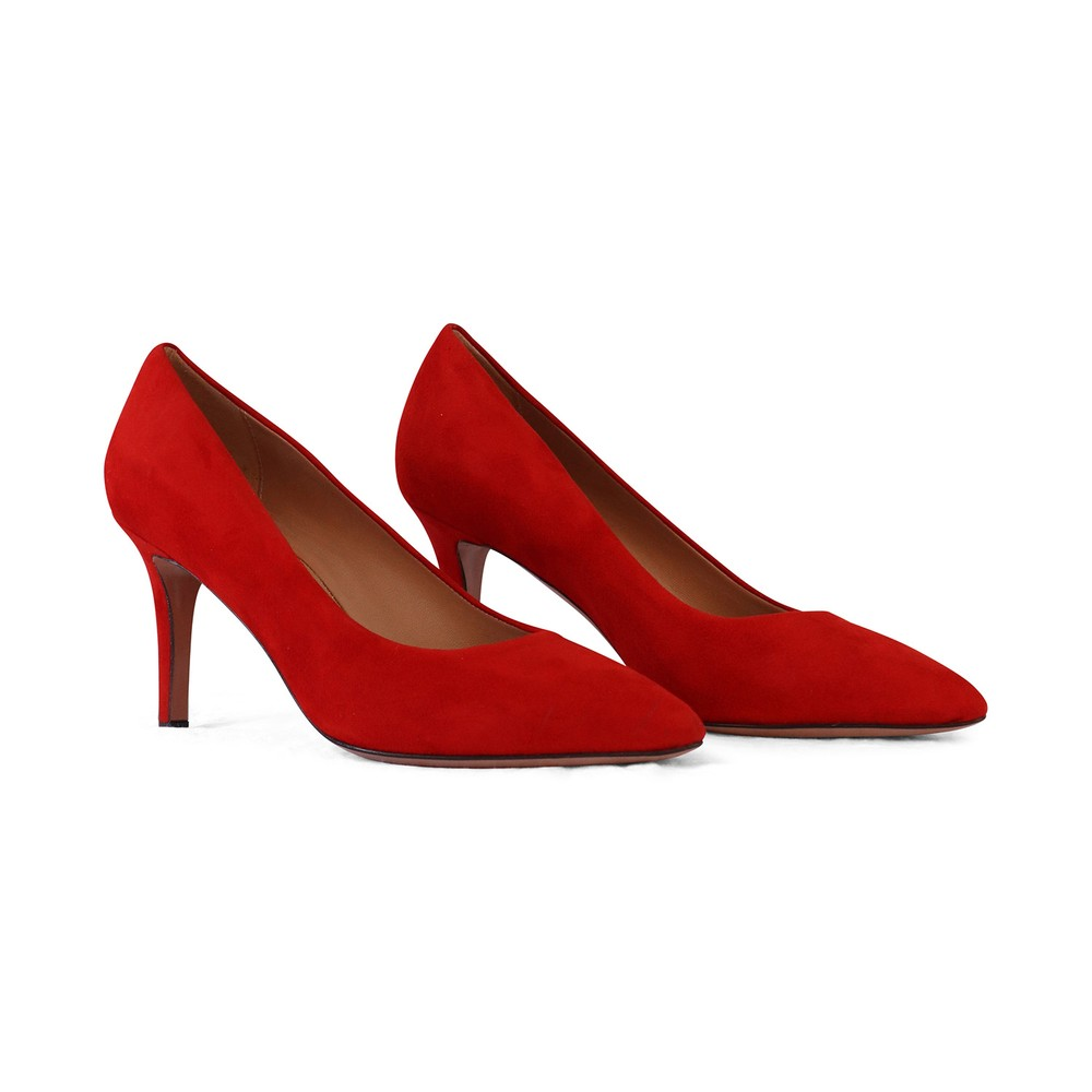 Aristocrat Mid Heel Suede Court Shoe Red