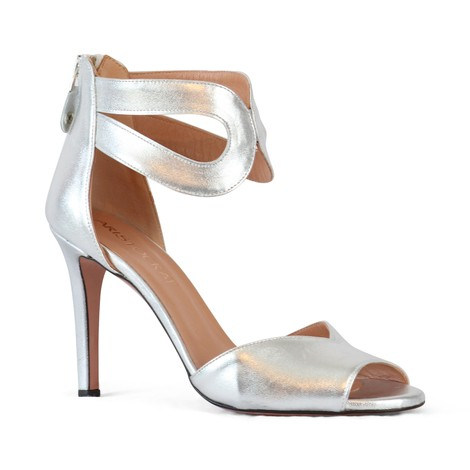 Aristocrat Peep Toe Ankle Strap Sandal in Silver