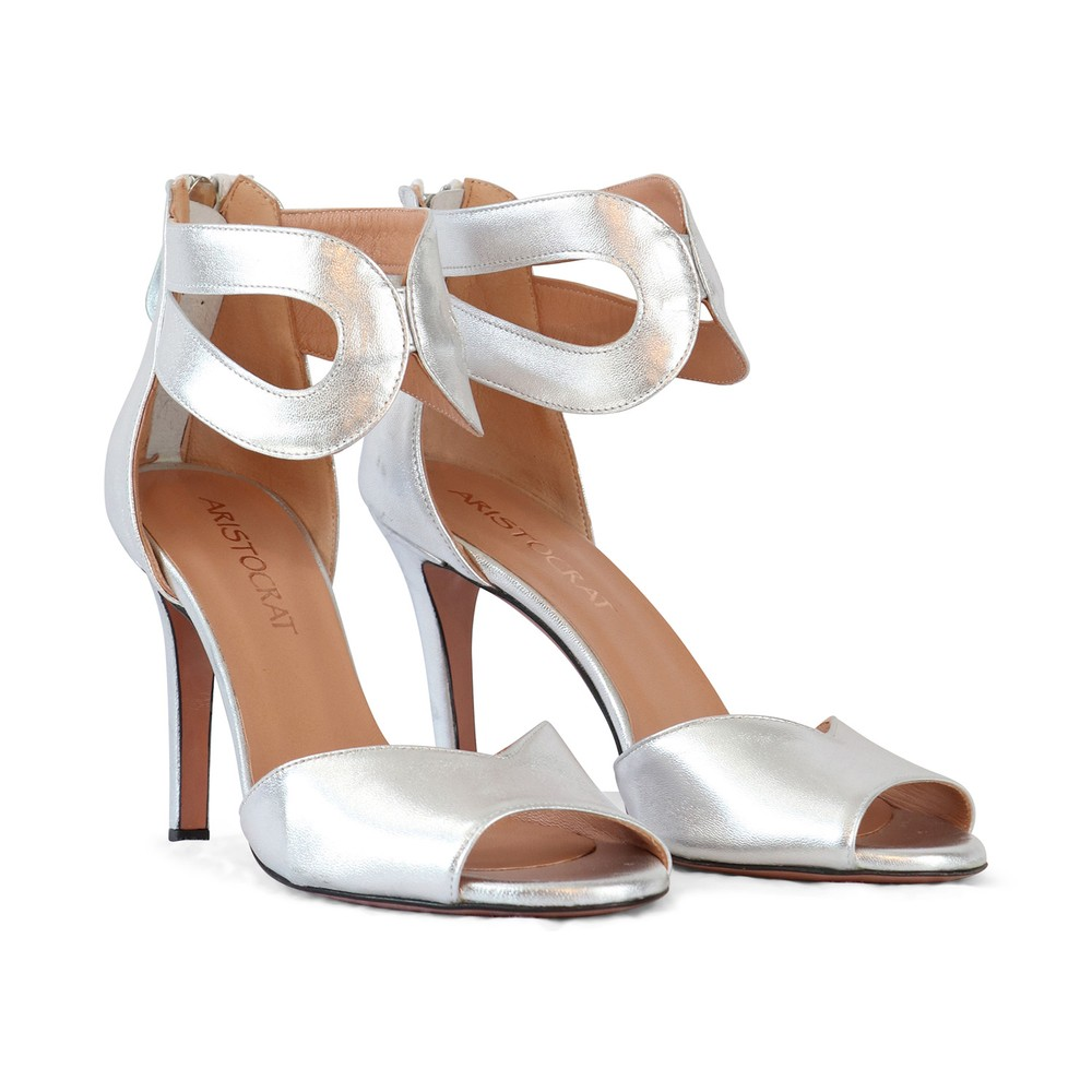Aristocrat Peep Toe Ankle Strap Sandal Silver
