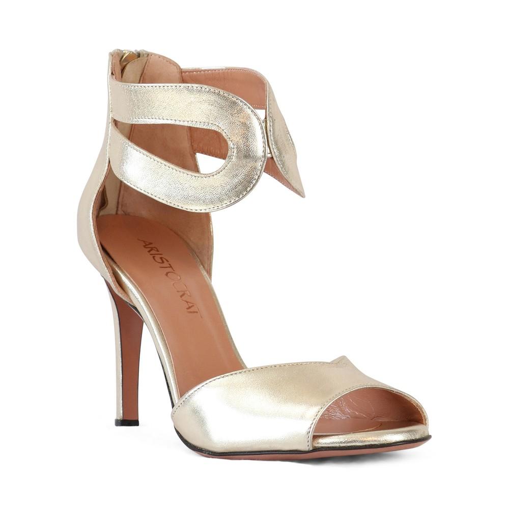 Aristocrat Peep Toe Ankle Strap Sandal Gold