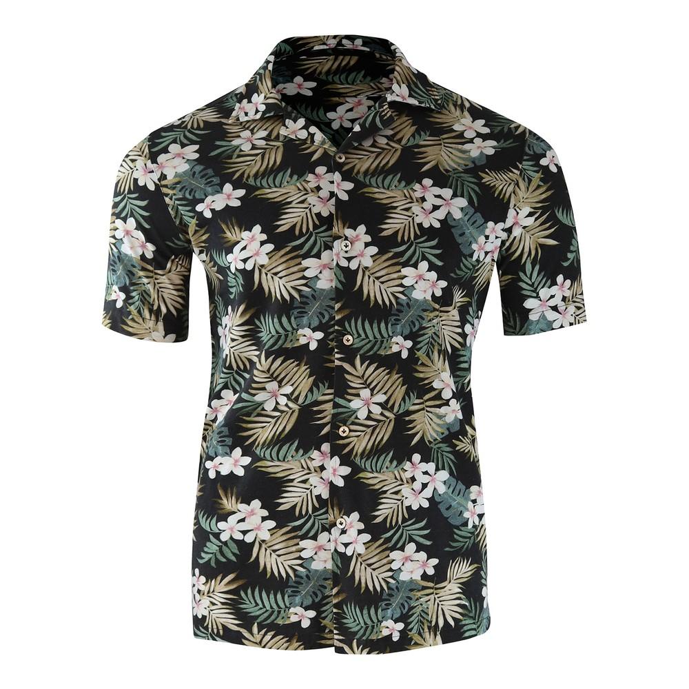 Circolo Camicia M/M Jersey Short Sleeve Shirt Black Floral Black