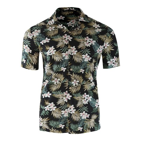 Circolo Camicia M/M Jersey Short Sleeve Shirt Black Floral