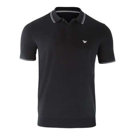 Emporio Armani Knitted Polo Shirt in Black