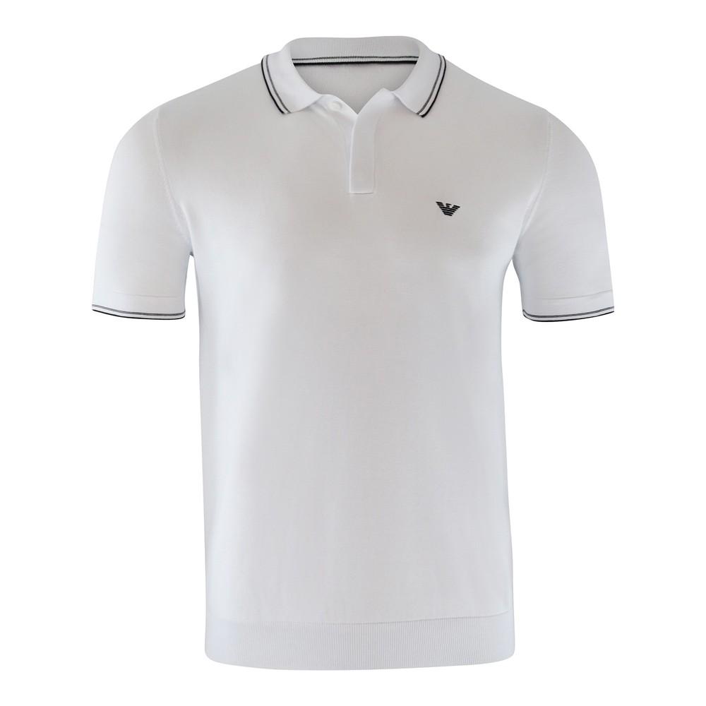 Emporio Armani Knitted Polo Shirt White