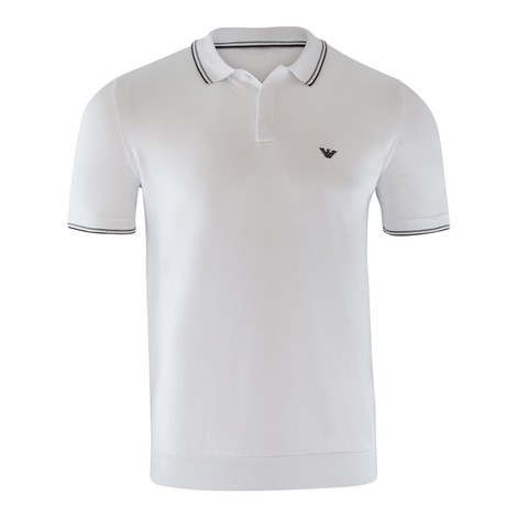 Emporio Armani Knitted Polo Shirt in White